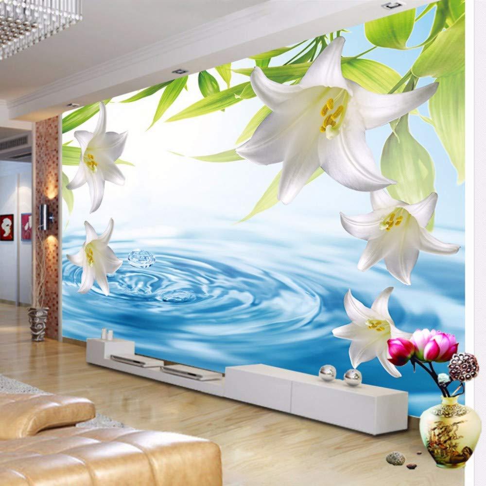 Hwhz Gewohnheit Irgendeine Größe 3D Fototapete Moderne Lilie Blume Stereoskopische Wasserwelle Wohnzimmer Sofa Tv Hintergrund Tapete Wandbilder 3D-200X140Cm
