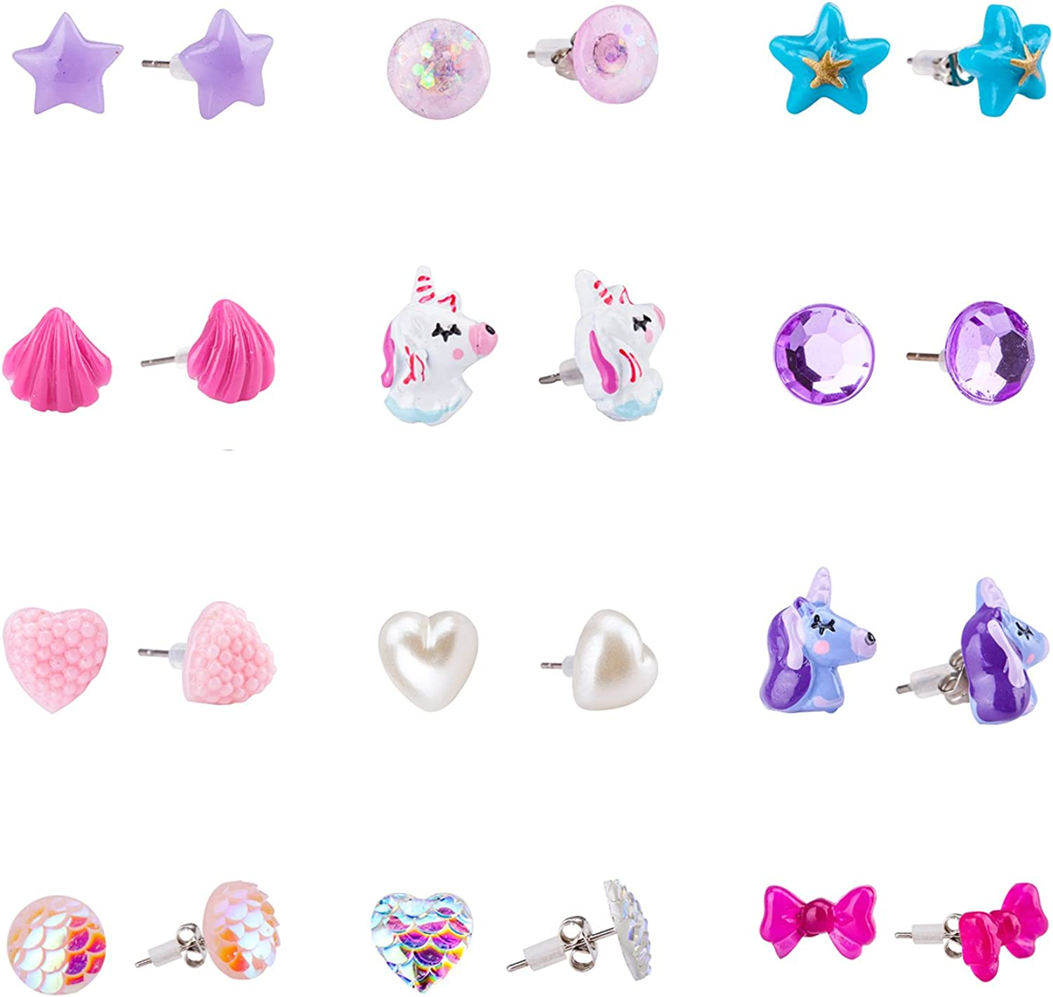 Amazon.com: SkyWiseWin Earrings for Girls, Hypoallergenic Children's Gift  Choice Cute Shapes and Colors Earrings, Set Kids's Stud Earrings: Jewelry