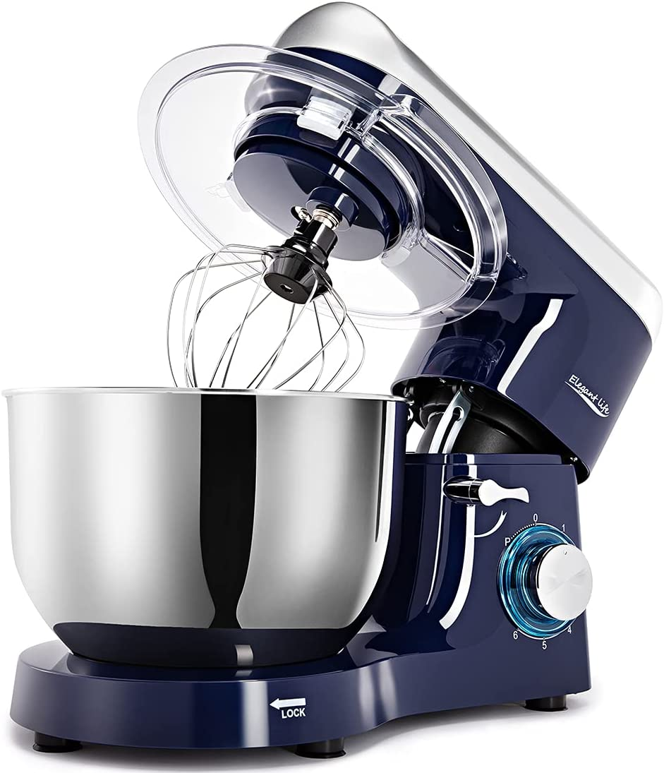 Elegant Life Stand Mixer, 6QT 6-Speed Tilt-Head Food Mixer, 660W Kitchen Electric Mixer with Dough Hook, Wire Whip, Beater & Egg White Separator