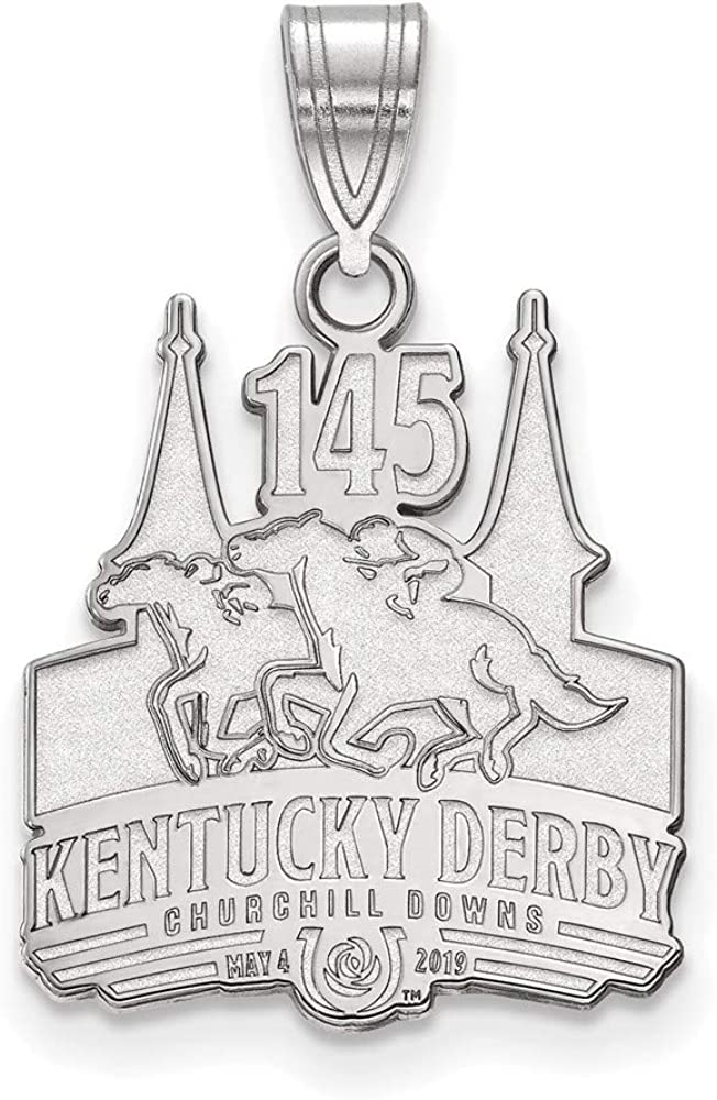 Solid 925 Sterling Silver Official LA Kentucky Derby Race 145 2019 Large Pendant Charm
