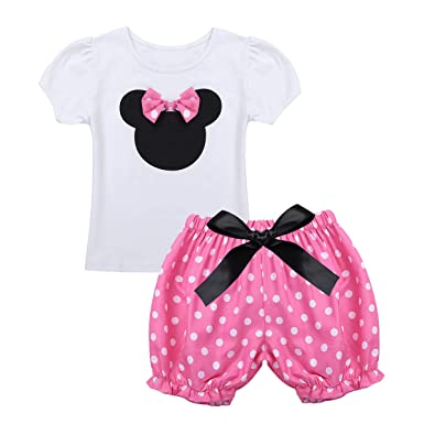 f93322db78e3d TiaoBug Bébé Enfant Fille Vêtement Baptême Cérémonie T-Shirt à Manche Court  Haut et Bloomer