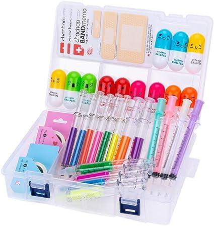 34 piezas lindo conjunto de suministros de papelería, resaltadores de jeringa plumas de aguja de enfermería para estudiante de enfermería: Amazon.es: Equipaje