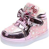 Longra® Kids Luminous Sneakers, Girls Star Bowknot Crystal Mesh Led Light Luminous Sneakers Shoes for 1-6 Years