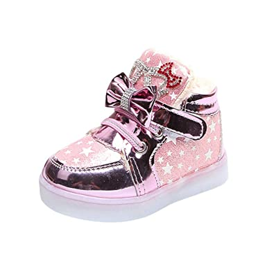 5594da0de56f0 Clearance Sale Children Kid Girls Star Bowknot Crystal Mesh LED Light  Luminous Sneakers Shoes