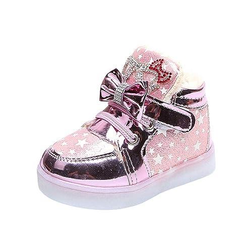 Zapatillas de Deporte Exterior con Luces LED para Bebé Niñas Otoño Invierno 2018 Moda PAOLIAN Zapatos de Charol Ayuda Fiesta Calzado Cuero Zapatos de ...