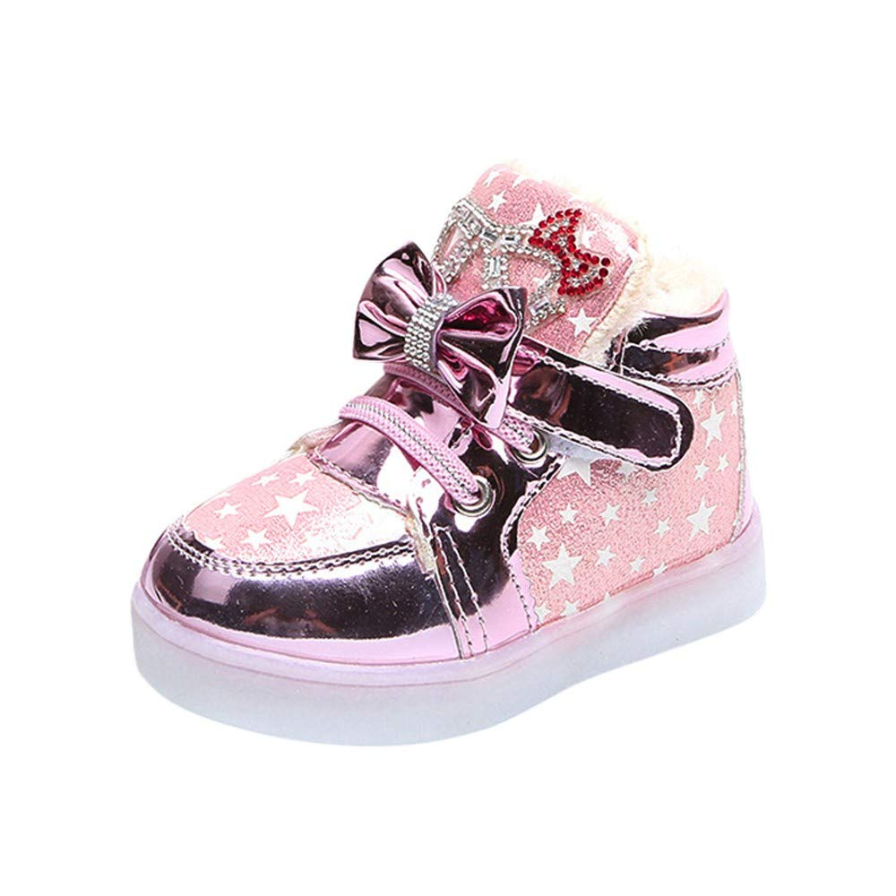 Foncircle Baby Boys Girls Star print bow Shoes Casual Sneakers Flashing Shoes
