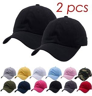 b7f812970a5c2f Set of 2, Cotton Dad Hat Cap Adjustable Baseball Cap Classic Plain Hat Men  Women