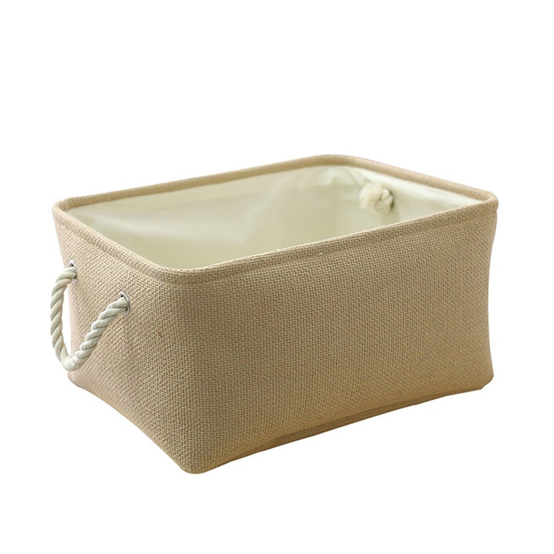 ZONEYILA Collapsible Storage Basket Fabric Linen Cloth Storage Bins,Organize Toys, Clothes, Baby Nursery, Kids Room,Living Room,Utility Room(Beige,L)