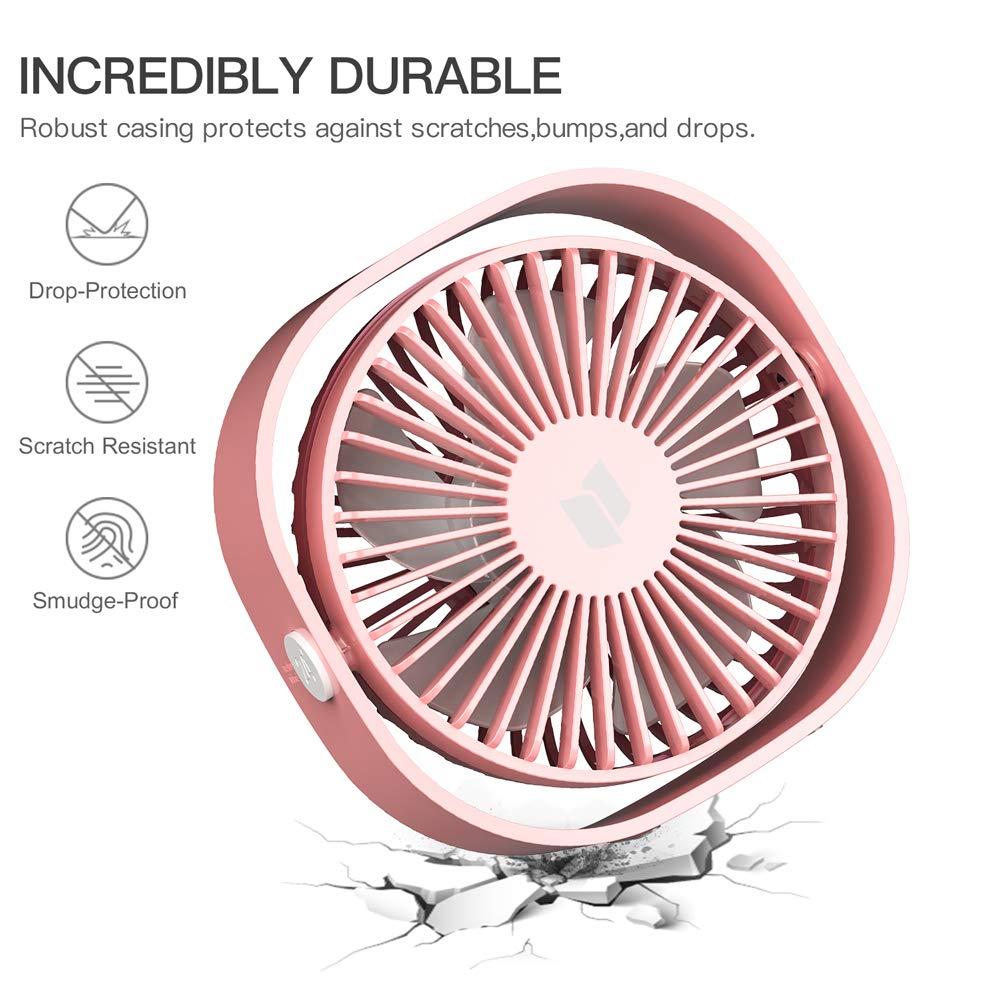RATEL Ventilateur de table USB Noir 4.84In Mini ventilateur de bureau Utiliser avec un c/âble de 3,94 pi Portable et personnel pour la maison et le bureau Calme et puissant