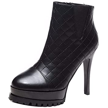 KPHY Zapatos de Mujer/Super High Heel Botas Cortas Alto 11Cm De Tacon Delgado Martin