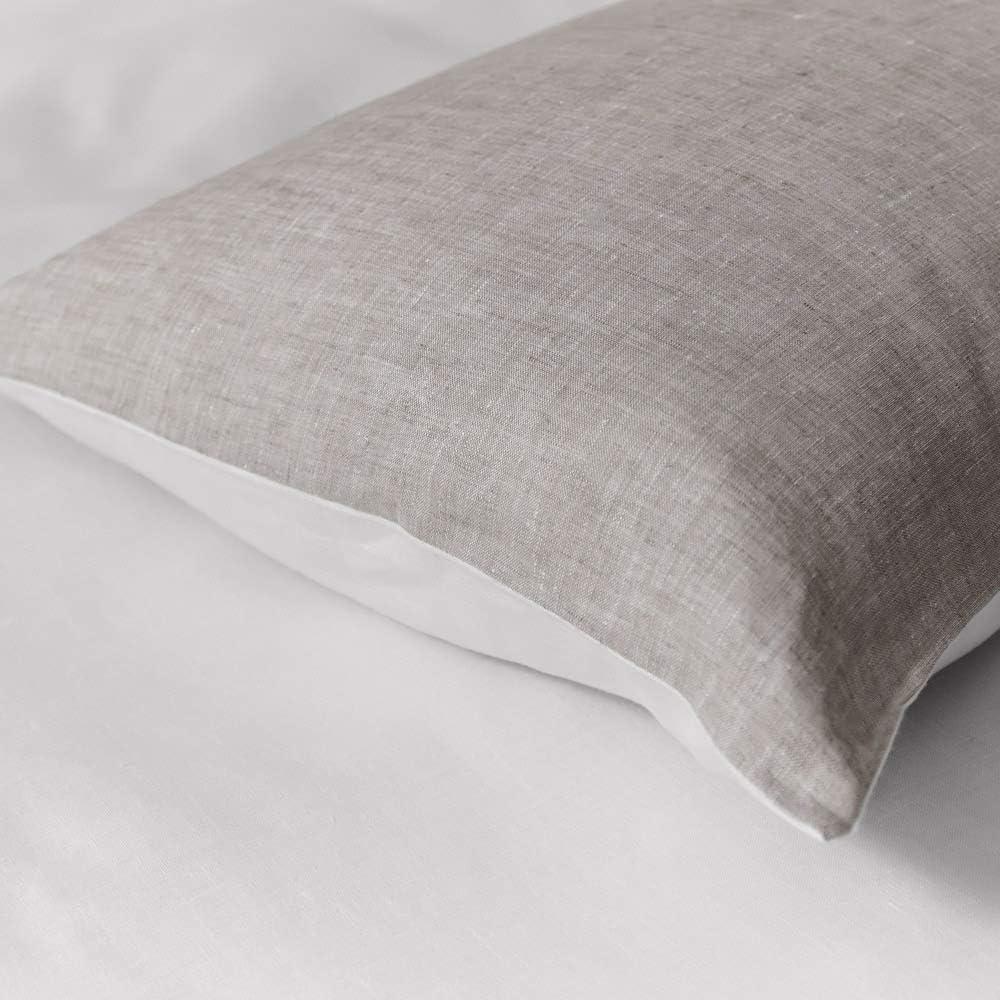 Federa Letto in Puro Lino 100/% Moderna Bianco Panna e Naturale 50x80cm Cuore di lino