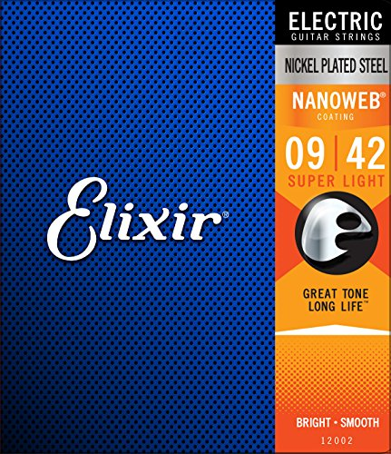 Elixir Strings Electric Guitar Strings w NANOWEB Coating, Super Light (.009-.042)
