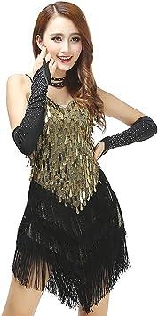 Grouptap Falda Honda de Baile de salón de Baile con Flecos y ...