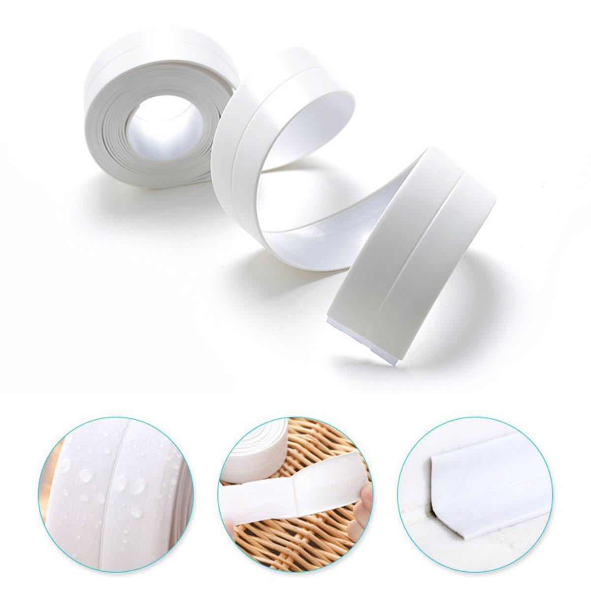 Corner Line Tape Strip Waterproof Mildew Proof Kitchen Bathtube Wall Edge Protector (126x0.87) 2 Pcs RL