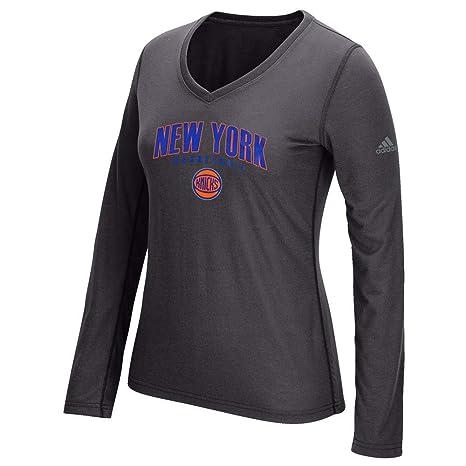 872a0601 adidas New York Knicks NBA Womens Grey Double Arch Outline Ultimate Long Sleeve  Shirt
