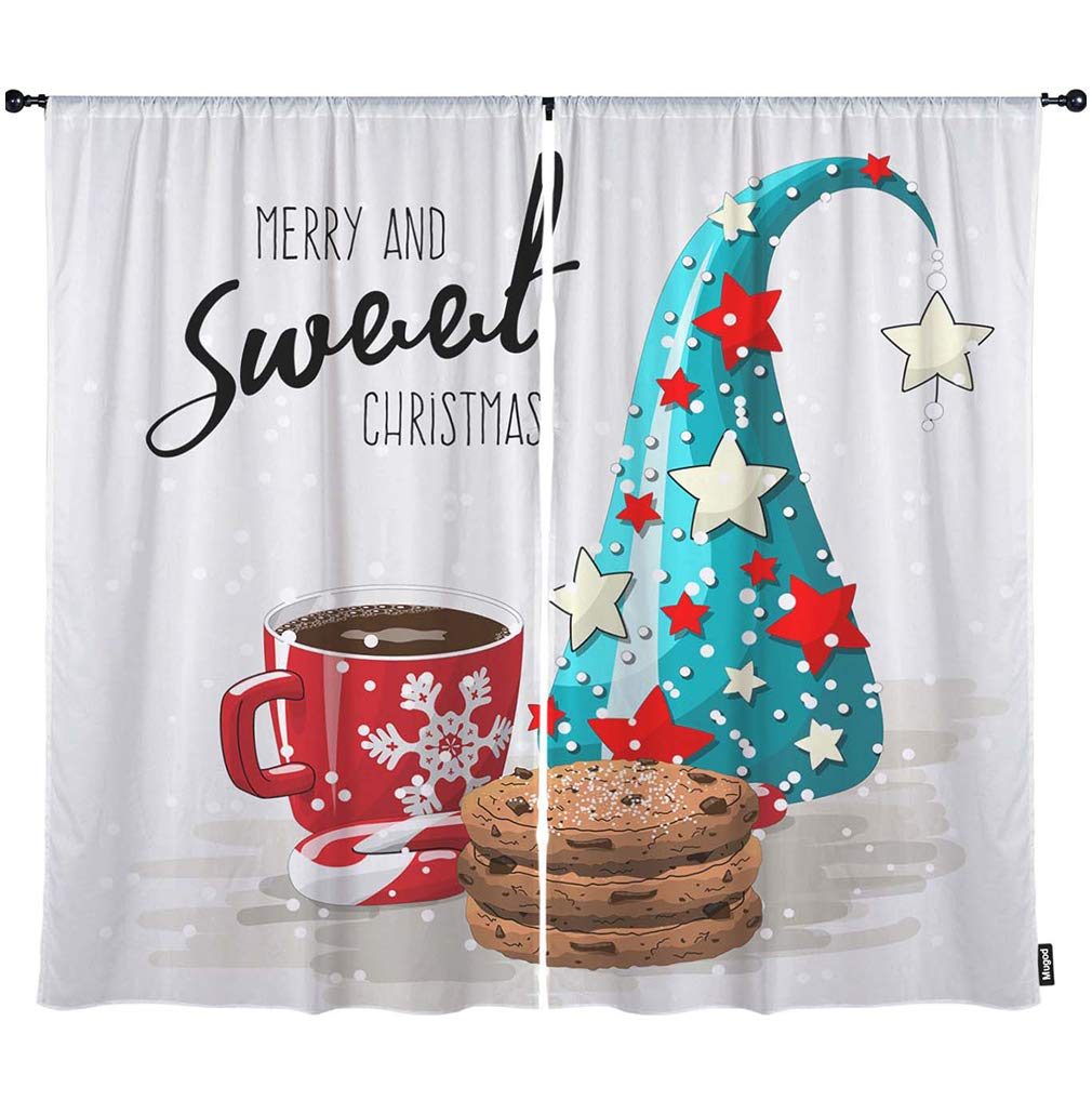 "Mugod Merry Christmas Window Curtains Sweet Red Cup Coffee Cookies Candy Cane Christmas Tree Black Out Window Treatment Curtains Polyester 2 Panel Set for Kitchen Living Room 108"" W x 96"" H Inch"