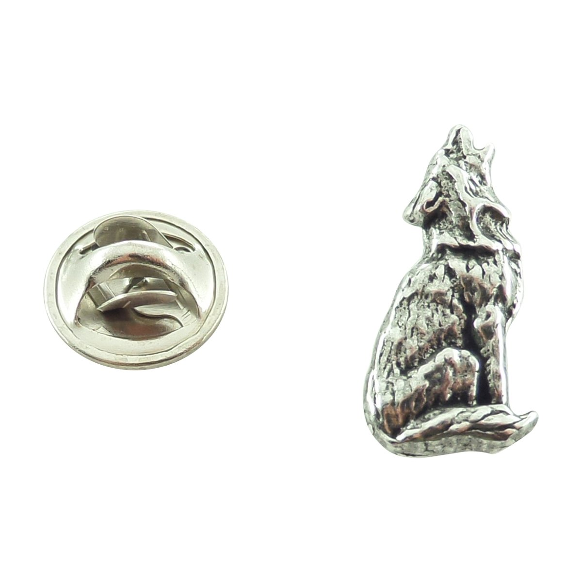 Creative Pewter Designs, Pewter Wolf Howling Mini Pin, Antiqued Finish, M042MP
