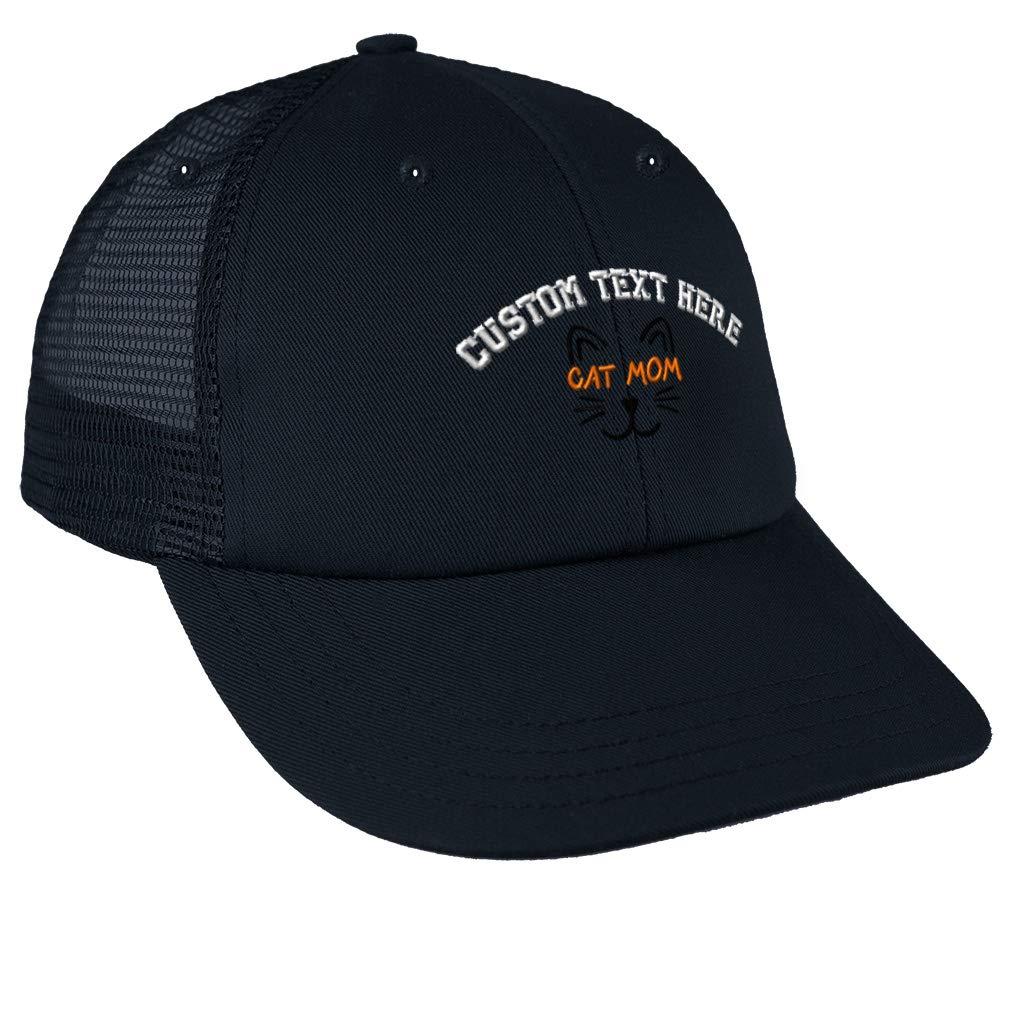 Custom Trucker Hat Baseball Cap Cat Mom Face Orange Embroidery Dad Hats for Men