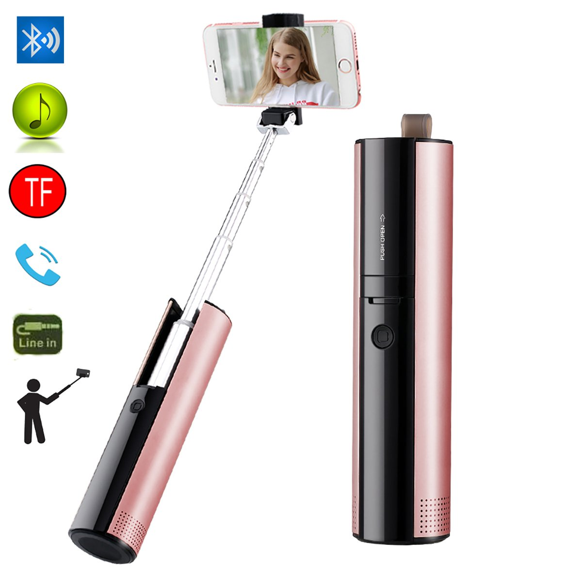 Bluetooth Speakers Selfie Stick CLEVERLOVE Portable Speaker Touch Wireless Stereo Bluetooth for iPhone Android Smart Phones for Outdoor Travel(Rose Gold)