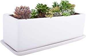 Vencer 12 Inch Modern Minimalist Ceramic Succulent Planter Pot - Window Box with Saucer,Office Desktop Potted Stand,White,VF-0135