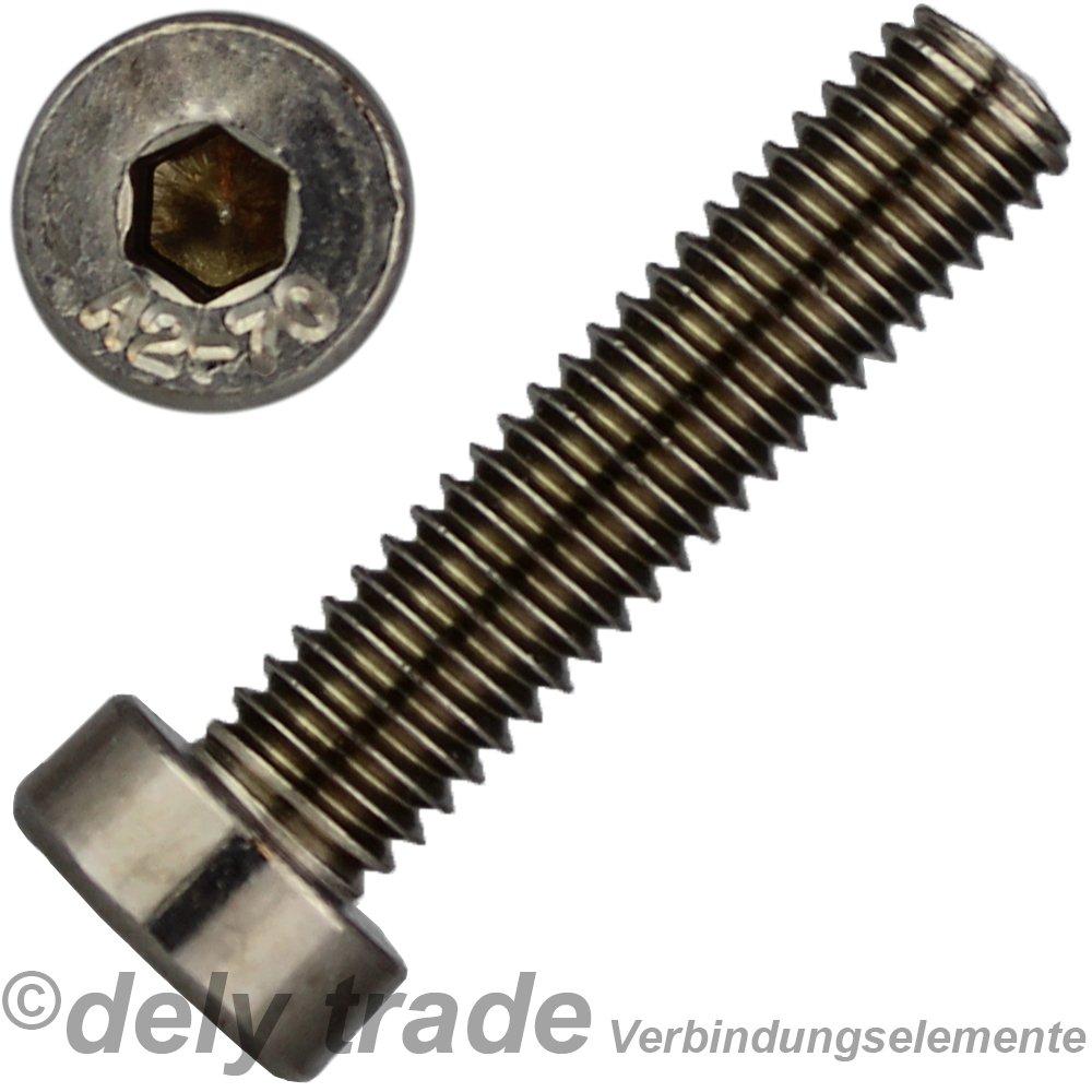 10 St/ück Zylinderschrauben M6 X 20 mit Innensechskant Kopf DIN 7984 Edelstahl A2 niedr