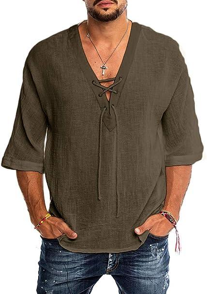 Amazon.com: Camisa de lino de algodón para hombre, estilo ...