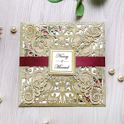 DreamBuilt 6.3 X 6.3 Inch 50PCS Blank Gold Glitter Laser Cut Wedding Invitations With Envelopes Hollow Rose Pocket With Burgundy Ribbon Belly Band Wedding Invitation Cards For Wedding Invite