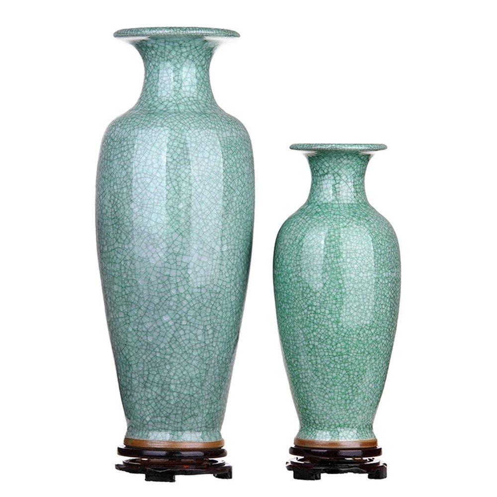 XIAOYAN クラックジュンポーセリングリーンアンティーク大花瓶景徳鎮セラミックスリビングルームフロア花瓶の装飾 B07DYQPHP1