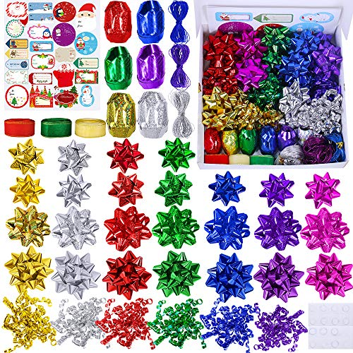 53 Set Christmas Gift Bows Ribbon Assortment Metallic Shiny Holographic Colors Gift Bow Gift Wrapping Ribbon Present Bows Self Adhesive for Xmas Holiday Birthday Party Gift Baskets Bottle Boxes Décor