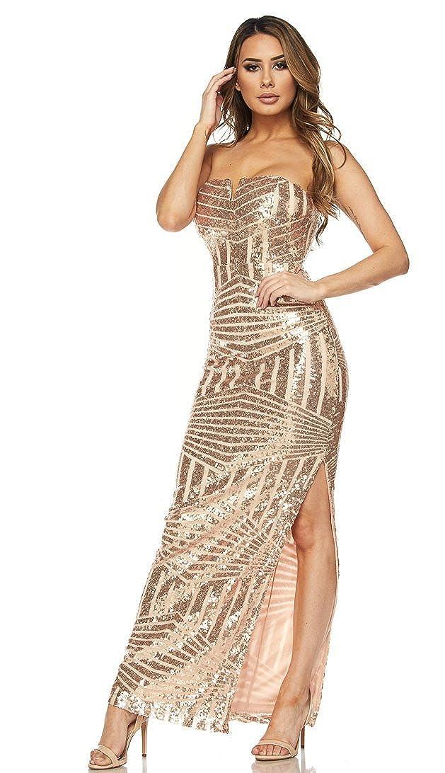 20fe38ac079 SOHO GLAM Rose Gold Side Slit Strapless Geo Pattern Sequin Maxi Dress at  Amazon Women s Clothing store