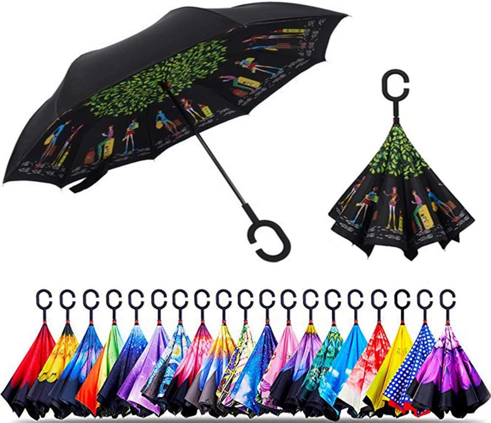Original Deals Inverted Inside Out Umbrella Pink Reverse Open Folding Umbrellas with C Hook for hanging on points Double Layer Inverted UV Protection Unique Windproof Umbrella