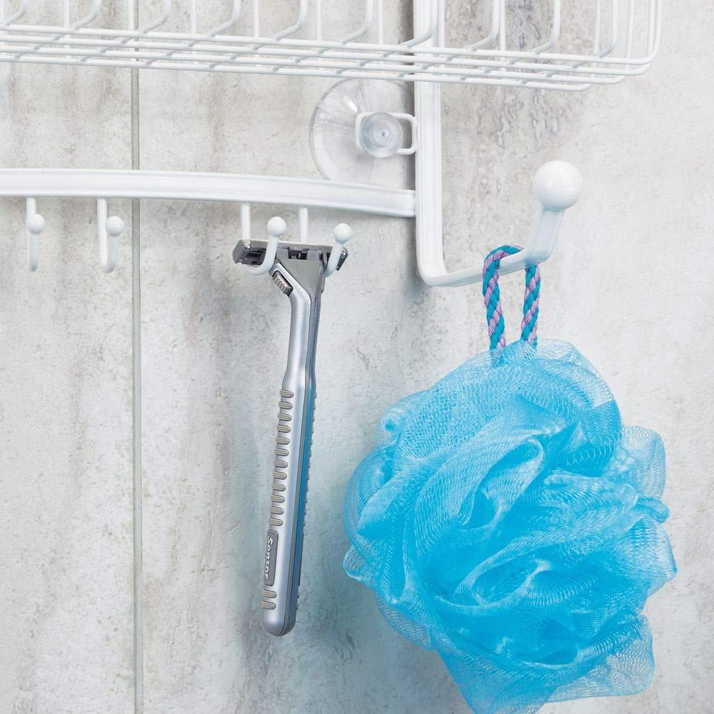 mDesign Vintage Metal Wire Bathroom Tub /& Shower Caddy Hanging Storage Organizer Center with 2 Wash Cloth Hooks and Baskets for Bathroom Shower Stalls Bathtubs Rust Resistant Steel White