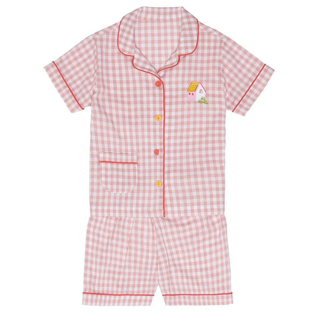 Pink ChummyChummy 100/% Cotton Short Sleeve Sleepwear Plaid Pajama Set for Little Girls Boys Kids