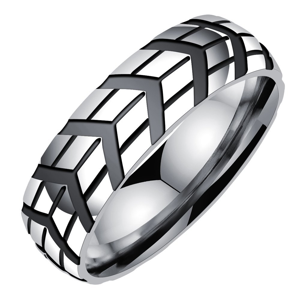 Onefeart Stainless Steel Ring For Men Boy Arrow Tire Pattern Design Silver US Size 7 Cool Man Style