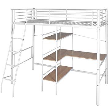 VidaXL Kinder Etagenbett Jugend Hochbett Mit Schreibtisch Metall 200x90 Cm  Weiß/Braun