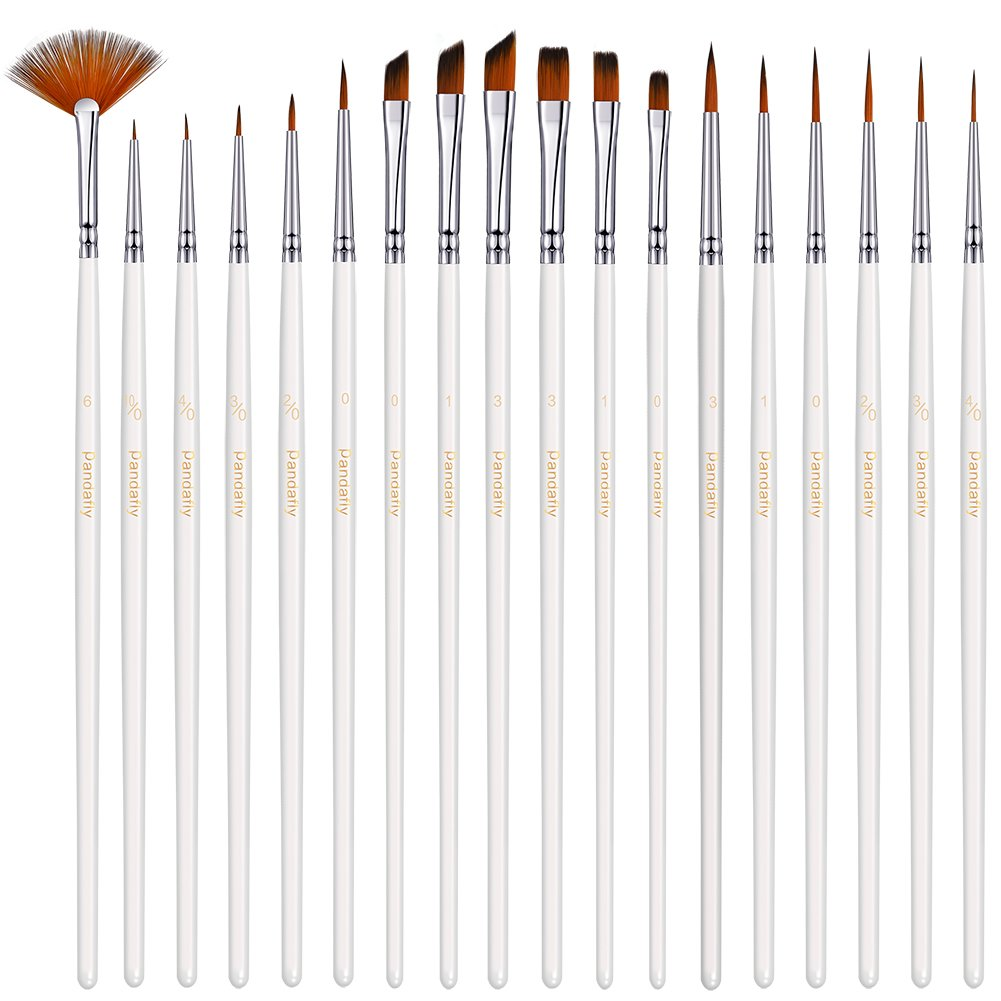 Miniature Paint Brushes Detail Set -18pc Miniature Brushes for Fine Detailing & Rock Painting. Acrylic Watercolor Oil - Art, Perfect for Scale Models, Figurines, Nail, Face, Airplane Kits Pandafly Art Supplies 4336958617