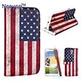 Galaxy S4 Case, Nccypo Vintage American Flag Detachable 2 in 1 Design PU Leather Folio Magnetic Purse Wallet Case Cover Protector with Credit Card Slots,Stylus,Screen Protector and Cleaning Cloth Compatible for Samsung Galaxy S4 i9500