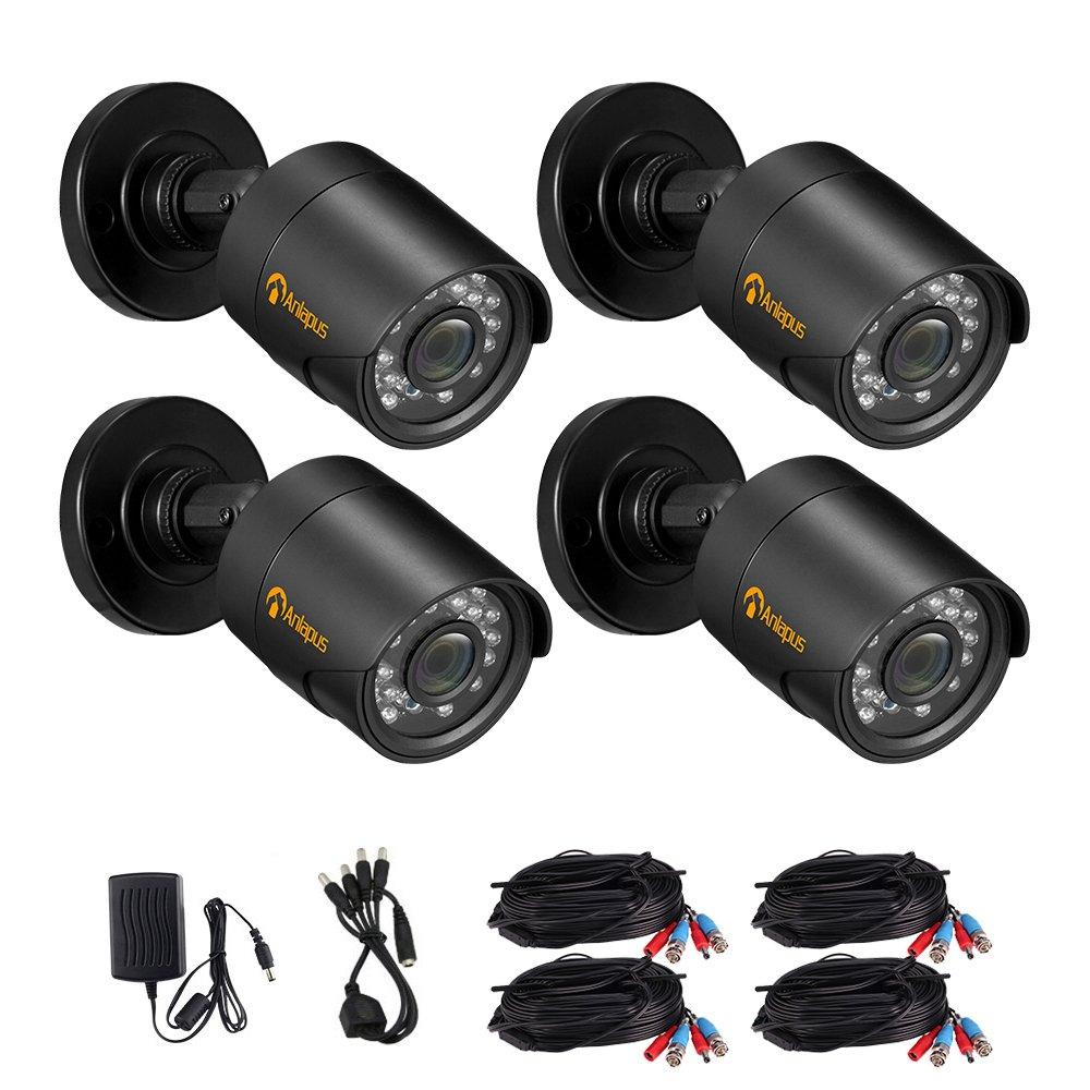 Anlapus 1801N 720P 36 IR LEDs with IR Cut 100FT/30M Night Vision Outdoor Weatherproof Waterproof Security Surveillance CCTV Home£¨4 Pack£