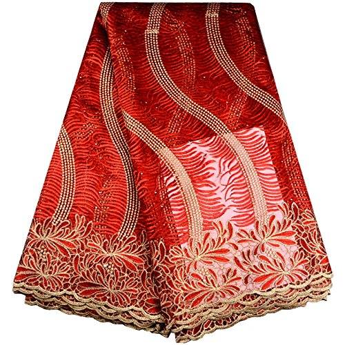 (KENLACE 5 Yards/Lot Hot Sale African Lace fabric 2017 New Arrival African Cord Lace For Wedding Dresses Guipure Lace Fabrics (Red))