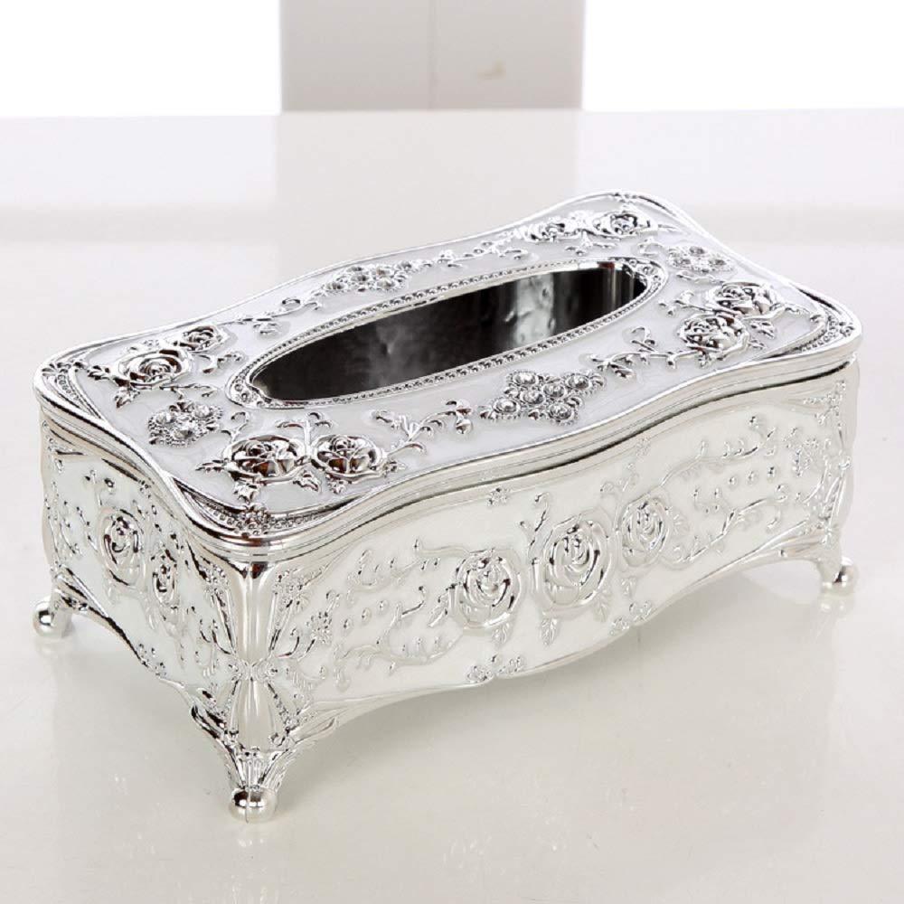 Silver Eonyea Tissue Box Cover Arcrylic Paper Napkin Holder Home Hotel Decor Silver White