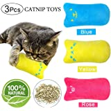 YAOJITOYS Cat Catnip Toys Chewing Teeth Cleaning Pillow Scratch Kitten Pet Catnip Teeth Grinding Chew Toys 3Pcs