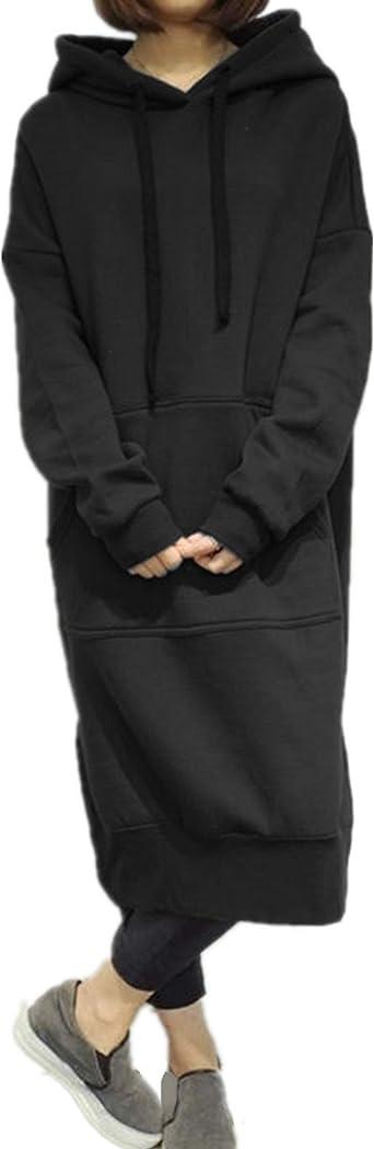 Womens Long Sleeve Hooded Shark Loose Casual Pullover Hoodie Dress Tunic Sweatshirt Dress with Pockets