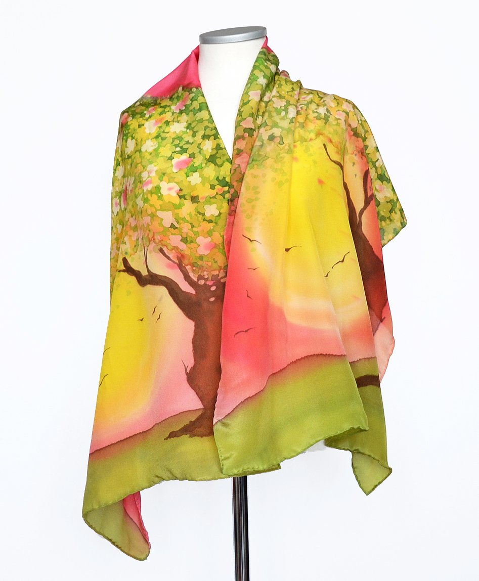 Elegant Silk Shawl For Women Hand Painted Flowering Tree Scarf Colorful