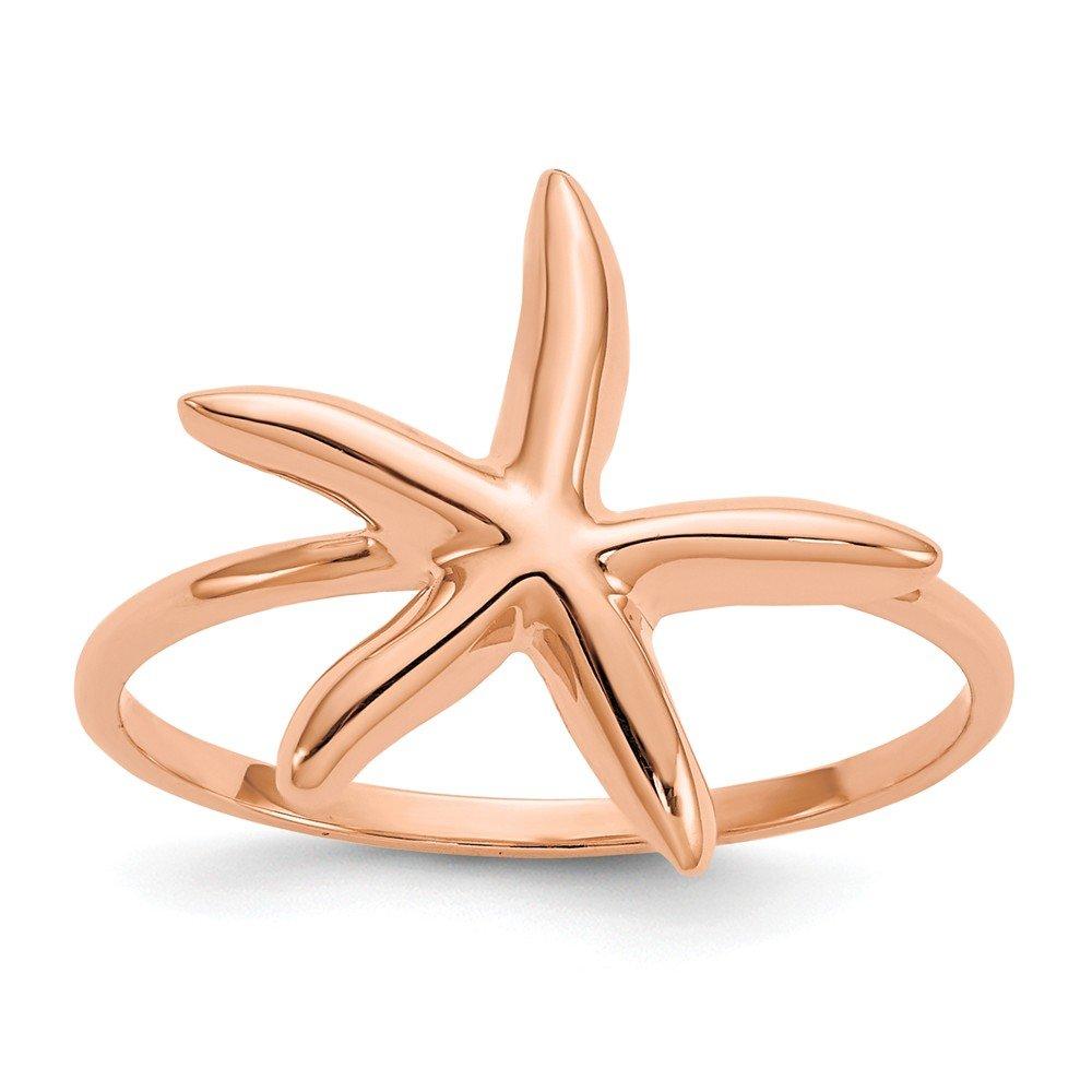 Beautiful pink gold 14K 14k pink gold Polished Starfish Ring