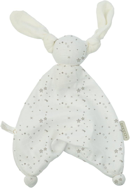 100/% Baumwolle Jungen und M/ädchen Grau 35 cm Hoppa Schnuffeltuch Floppy