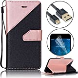 Women S6 Cases, Bonice Samsung Galaxy S6 Premium PU Leather Stitching Strip Series Black Wallet Magnetic Flip Folio Case Cover with ID Credit Card Pockets and Wrist Strap Ultra Slim Fit Skin - Rose Gold