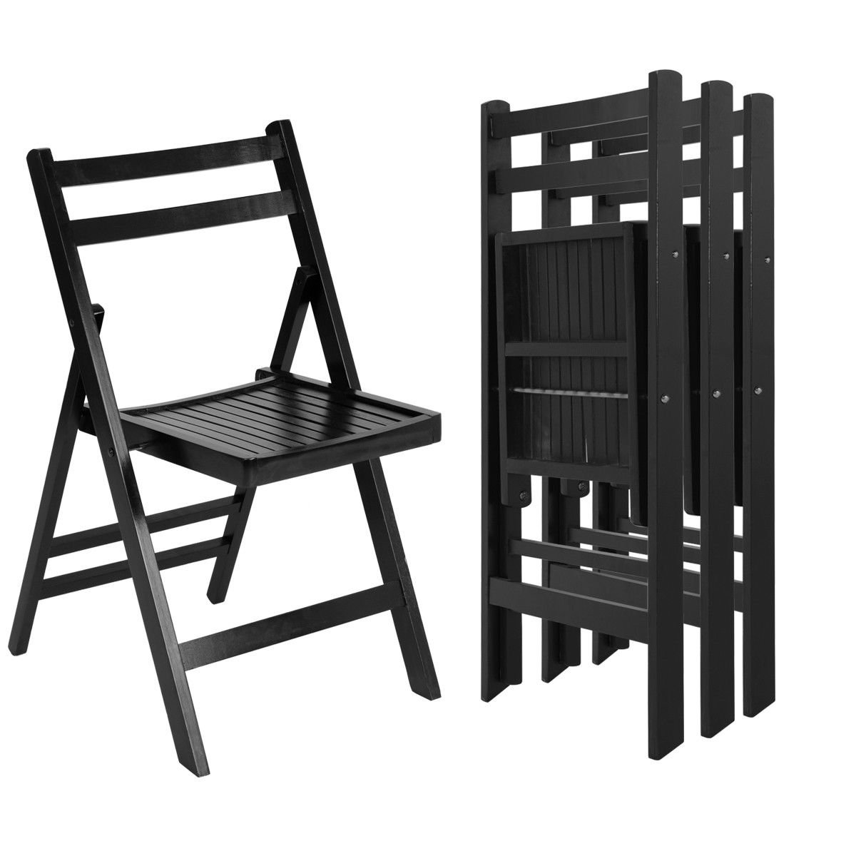 Giantex 4 Pcs Solid Wood Folding Chairs Ergonomic Slatted Seat Backrest Wedding Patio Garden Home Furniture (Black)
