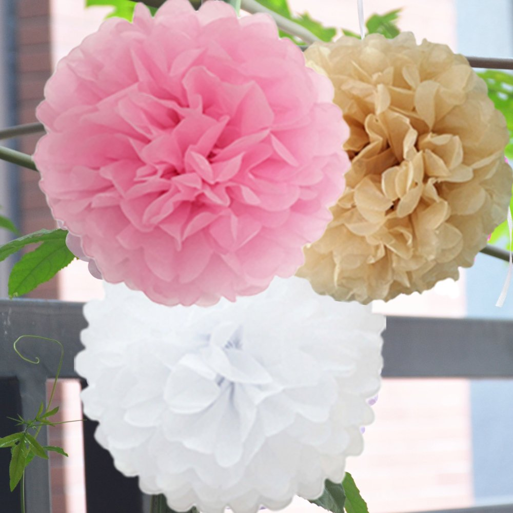Amazon.com: Mixed Color Fluffy Tissue Paper Pom Pom Flower Balls ...