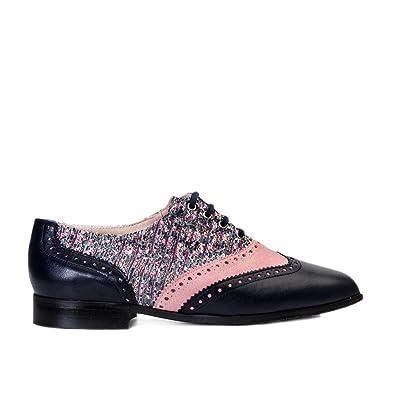 GENNIA Dakota Marino Rosa - Mocasines para Mujer de Cuero y con Mini Tacón de 1 cm: Amazon.es: Zapatos y complementos