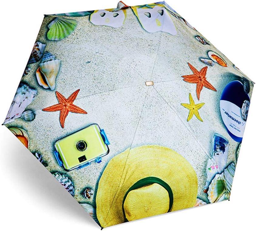 JUNDY Paraguas Plegable a Prueba de Viento de la protección Solar de la Moda Paraguas 50% de Descuento en Paraguas Creativo Protector Solar Plegable color2 91cm: Amazon.es: Hogar